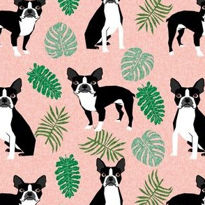 boston terrier tropical monstera leaf pattern fabric - boston terrier fabric, tropical fabric, monstera leaf pattern fabric, monstera - blush pink