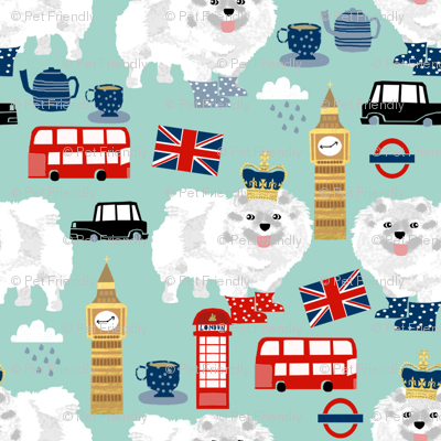white pomeranian in london pattern fabric - dog in london fabric, cute dog, white pomeranian fabric,  white pom - mint