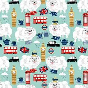 white pomeranian in london pattern fabric - dog in london fabric, cute dog, white pomeranian fabric,  white pom - mint