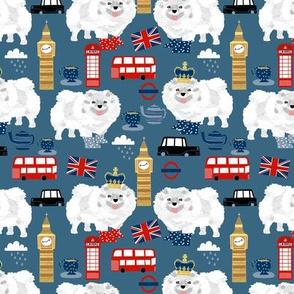 white pomeranian in london pattern fabric - dog in london fabric, cute dog, white pomeranian fabric,  white pom - blue