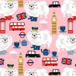 white pomeranian in london pattern fabric - dog in london fabric, cute dog, white pomeranian fabric,  white pom - pink