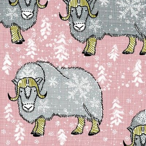 Wintery Silver Musk-Oxen on blush pink