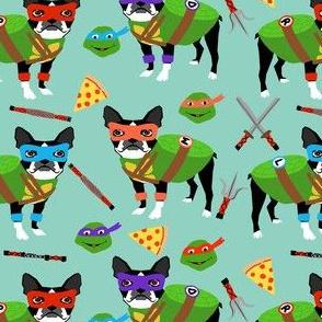 boston terrier dog fan fabric - cosplay, fan art, dog costume - minty blue