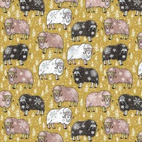 Wintery Latte-Choco Musk-Oxen on Pantone mustard yellow