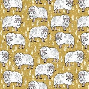 Wintery White Musk-Oxen on Pantone mustard yellow
