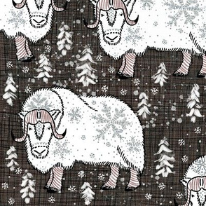 Wintery White Musk-Oxen on Pantone hot-chocolate