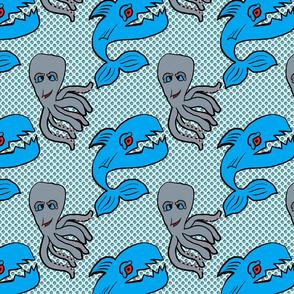 tela tiburon y pulpo