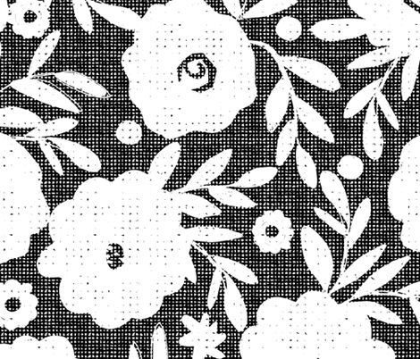 black and white flowers fabric by ottomanbrim on Spoonflower - custom fabric