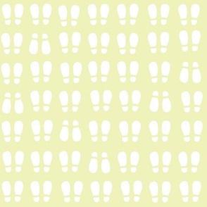 gum boot prints - white on yellow