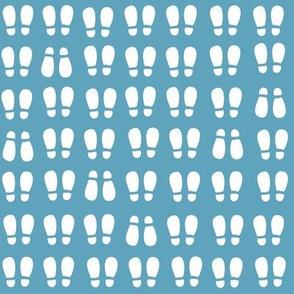 gum boot prints - white on blue