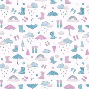 rainy days scatter pattern - magenta & smoke blue