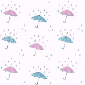 umbrellas in the rain - magenta & smoke blue