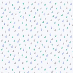rain drops –  indigo on light blue