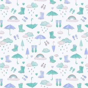 rainy days scatter pattern- indigo on light blue