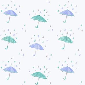 umbrellas in the rain - indigo on light blue