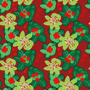 Festive Season green on red Christmas table linen