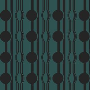 geo six dot stripe-charcoal on teal
