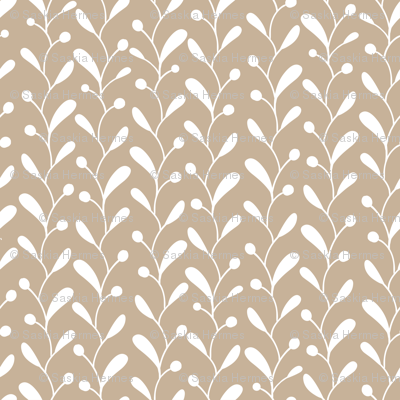 Beige white doodle leaves