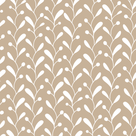 Beige white doodle leaves fabric by villavanilla on Spoonflower - custom fabric