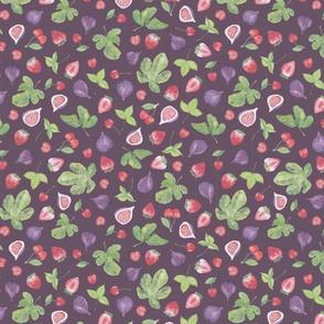 summer fruit scatter pattern on plum - small