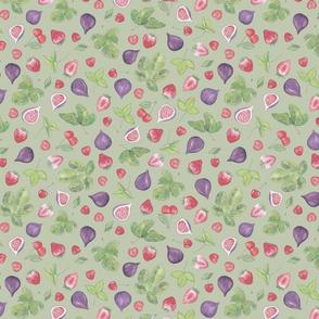 summer fruit scatter pattern on green - lagre