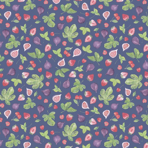 summer fruit scatter pattern on blue - small