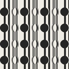 geo six dot stripe-charcoal on ivory