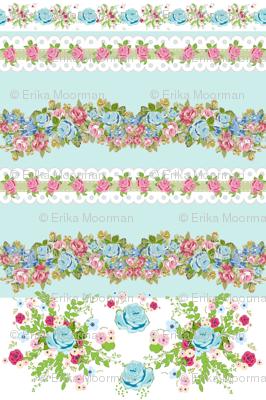 border blue rose bouquet mint - roses & lace 2 - MED 6