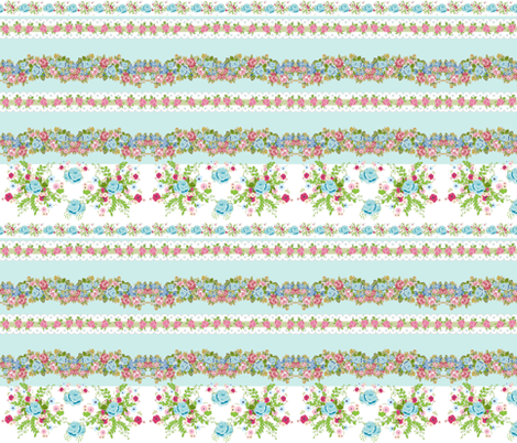 border blue rose bouquet mint - roses & lace 2 - MED 6 fabric by drapestudio on Spoonflower - custom fabric