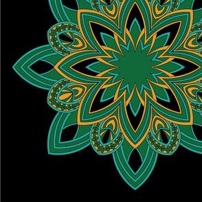 Mandala - Seedpod Green and Gold - Large Scale