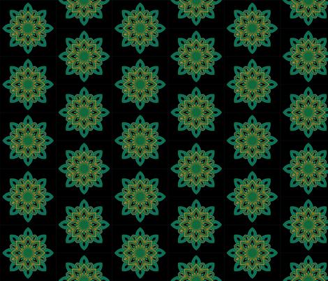 Mandala - Seedpod Green and Gold - Small Scale fabric by jessicasmithcreates on Spoonflower - custom fabric