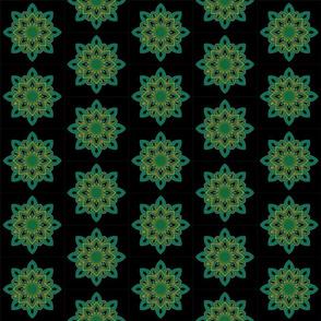 Mandala - Seedpod Green and Gold - Small Scale