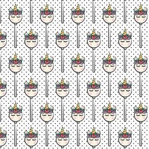 Unicorn Cake Pops (pastel) -  black polka dots