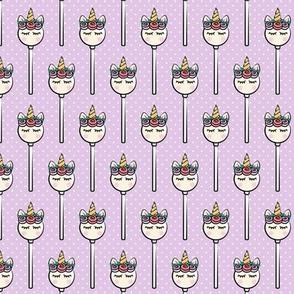 Unicorn Cake Pops -  purple polka dots