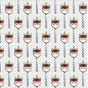 Unicorn Cake Pops -  black polka dots
