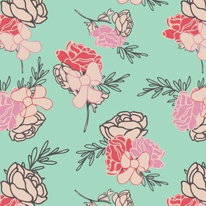 Green Roses and Ribbons Pattern