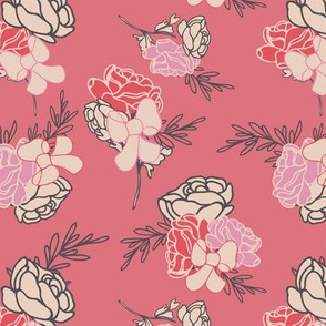 Red Roses and Ribbons Pattern