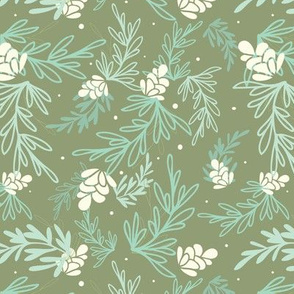 Green Falling Pine Leaves Pattern