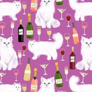 persian cat and wine fabric - cute cat lady design - persian white cat with wine design - purple