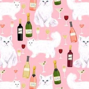 persian cat and wine fabric - cute cat lady design - persian white cat with wine design - pink
