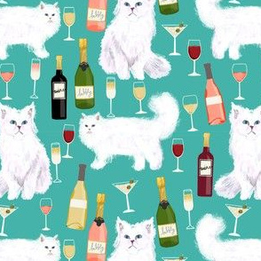persian cat and wine fabric - cute cat lady design - persian white cat with wine design - blue