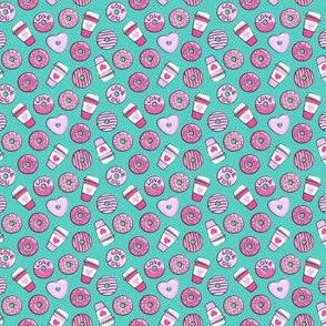 (micro scale) donuts and coffee - valentines day - pink on teal C18BS