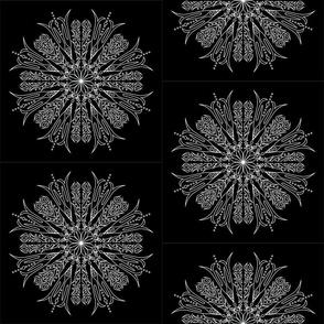 Mandala - Aster - White on Black