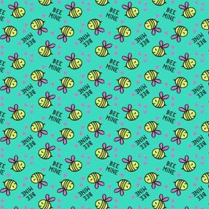 (micro scale) Bee Mine - teal - valentines day C18BS