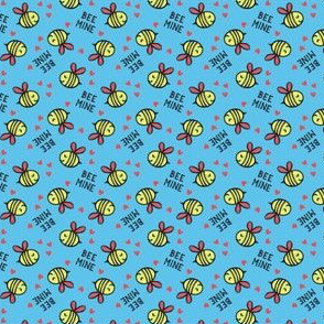 (micro scale) Bee Mine (Red) - Blue - valentines day C18BS