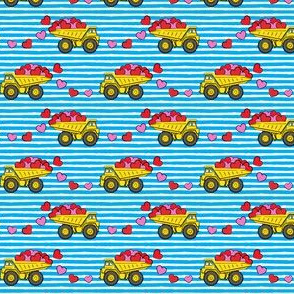 "(3/4"" scale)  tons of love - valentines day- trucks with hearts -  blue stripes C18BS"