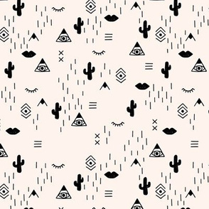 Little indian mudcloth icons and western cactus teepee aztec elements monochrome