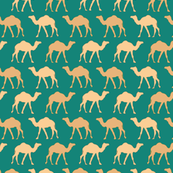 Camel caravan in teal
