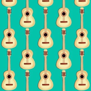 Acoustic Guitar / Natural on retro sea green