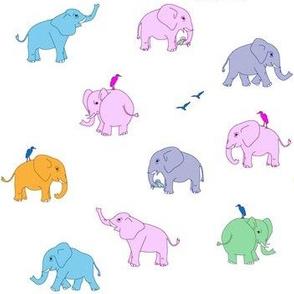 elephants multicolour